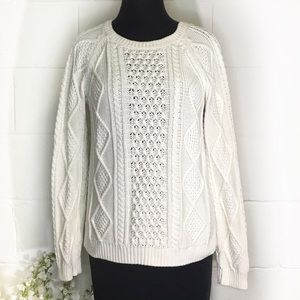 GAP Cream Crew Neck Cable Knit Sweater